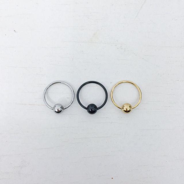 全新耳環「圈環1.4cm」 醫療鋼(金、銀、黑3色)