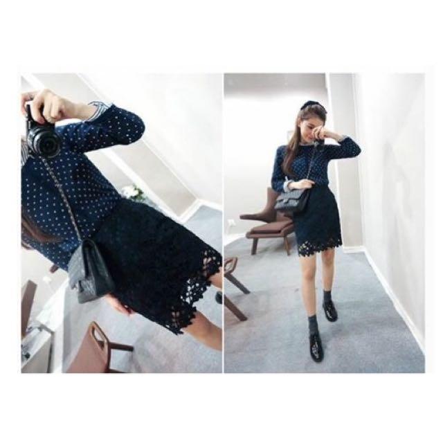 ✨黑色蕾絲高腰包臀裙 S號