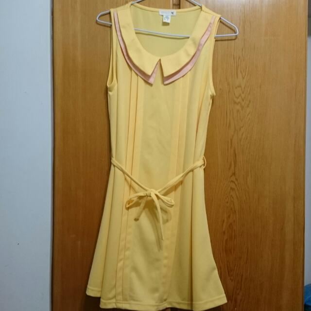 FIFTY PERCENT黃色綁帶洋裝