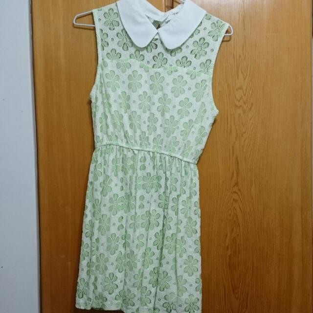 FIFTY PERCENT綠色白領蕾絲洋裝