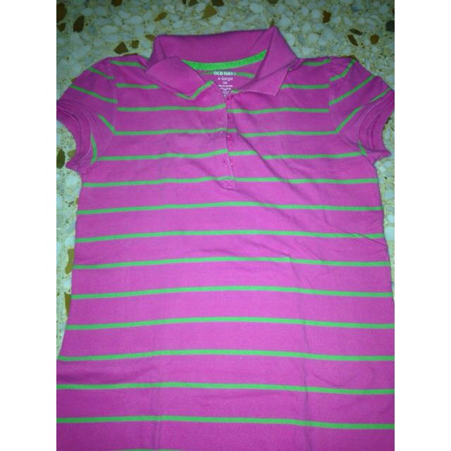 97319e2dd243 Old Navy Pink And Green Striped T-shirt, Women's Fashion on Carousell