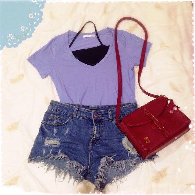 (暫停)pazzo 大V領 微傘狀修身T恤 藍紫色 馬卡龍色s