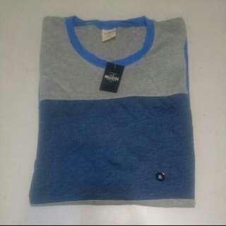 Hollister男款灰藍四色塊XL短袖T