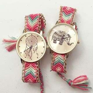 民族風編織大象女士手錶 (現貨)