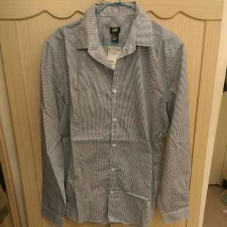 H &M 襯衫 男 全新M號藍白直條紋