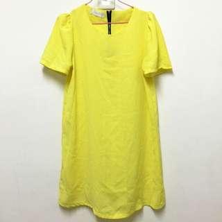 超適合夏天的黃色長版上衣