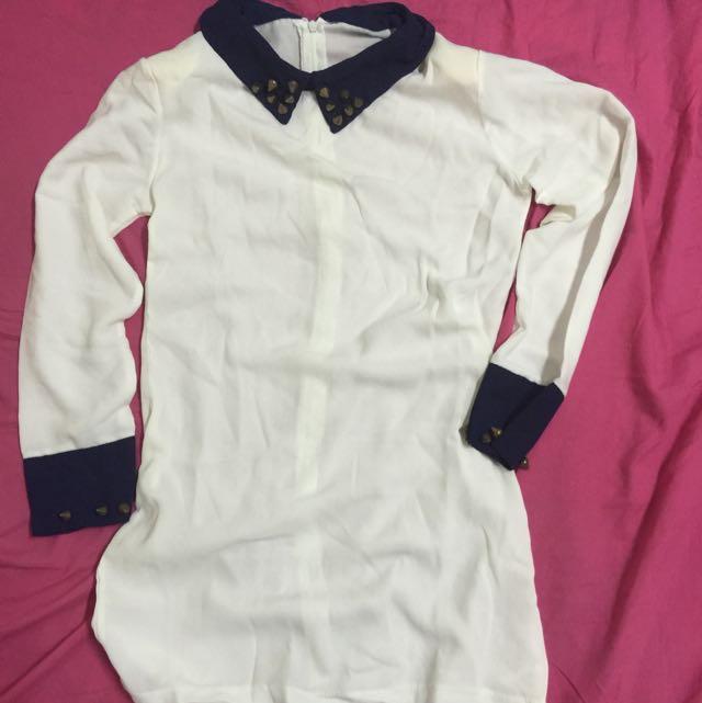 雪紡長版襯衫