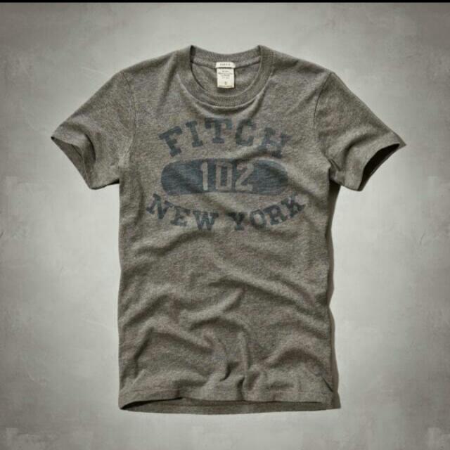 A&F男款鐵灰色New York短袖T