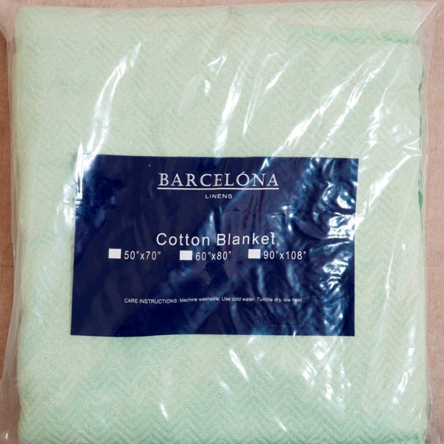 "BRAND NEW!! Barcelona 60"" x 80"" Heavy Cotton Blanket (Green)"