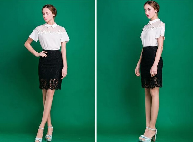 BRAND NEW!! Slim Fitted Knee Length Lace Pencil Skirt
