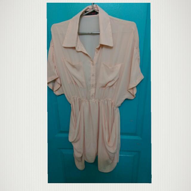 C010粉色長版上衣