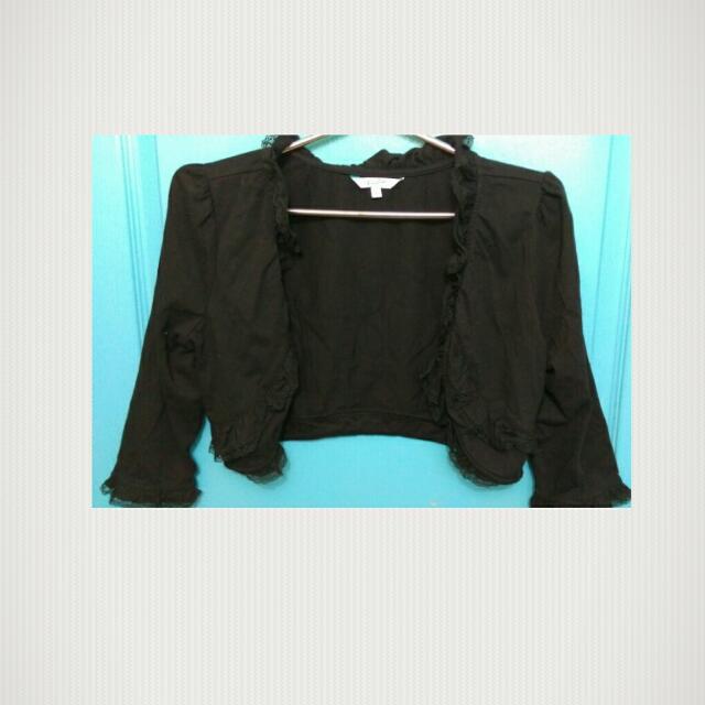 C014黑色短版蕾絲小外套