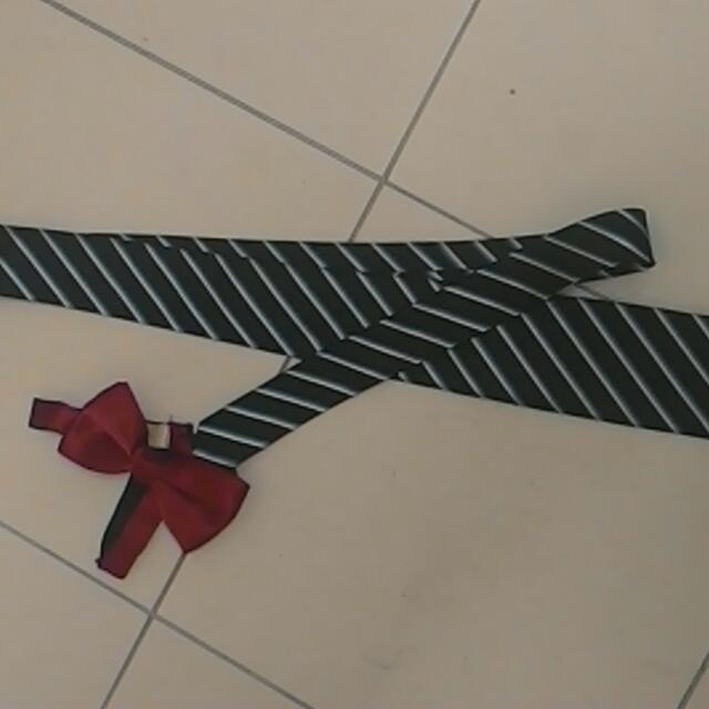 Dark Blue Tie And Maroon Bow