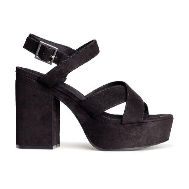 H\u0026M Black Platform Sandals, Women's