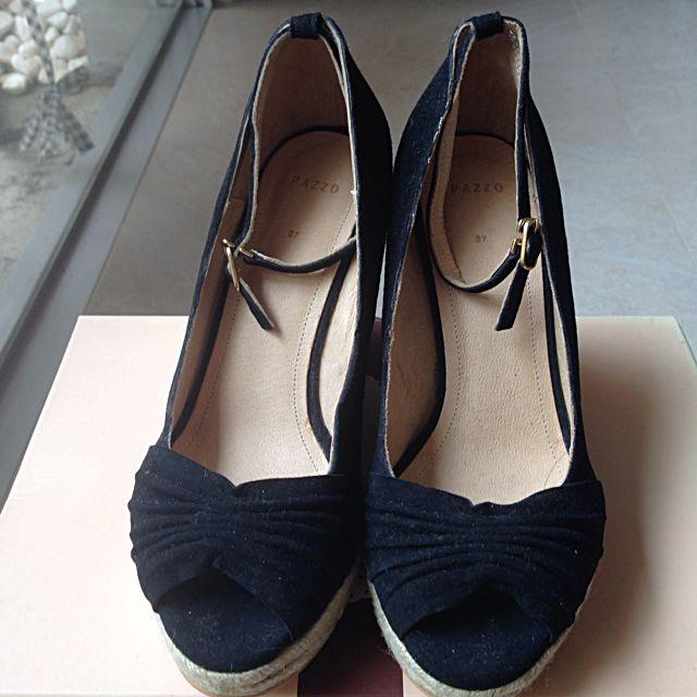 全新Pazzo 黑色麻繩楔型鞋