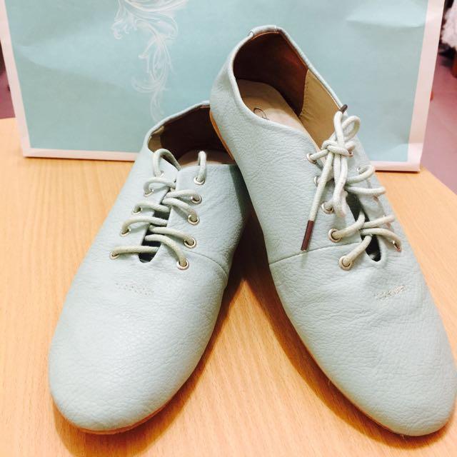 日韓嚴選糖果色休閒平底鞋(Tiffany色)—尺寸23號