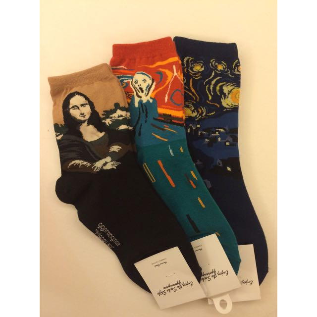 [全新]三大名畫X襪襪 蒙娜麗莎的微笑 吶喊 星空