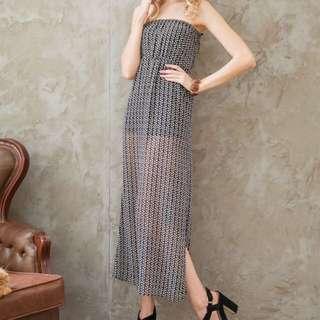 瑞典H&M花紋平口伸縮洋裝(時尚灰)
