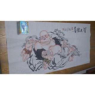 純手畫 國畫 皆大歡喜 財神 彌勒佛 財神爺 財神與小孩 畫功細膩