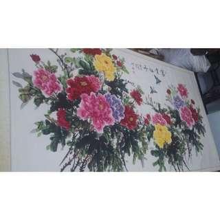 原價8000 限時特價5000(大尺寸)國畫 純手繪 畫功細膩 富貴牡丹 牡丹圖 牡丹花 牡丹 二十五朵鮮艷牡丹