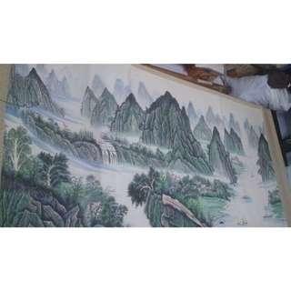 原價8000 限時特價5000(大尺寸) 國畫 2世外桃源 眾山遍枝野櫻花 純手繪 畫功細膩