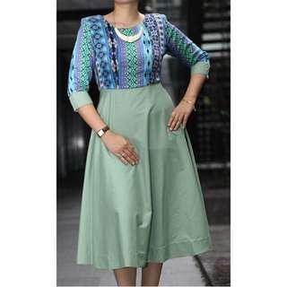 Gown Dress - Blue & Mint Green