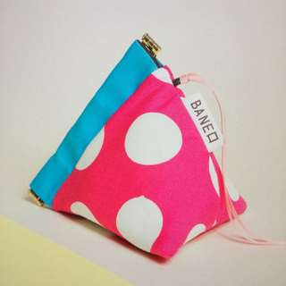 Bright Pink Blue Polka Dot Flex Frame Pouch (made In Japan)
