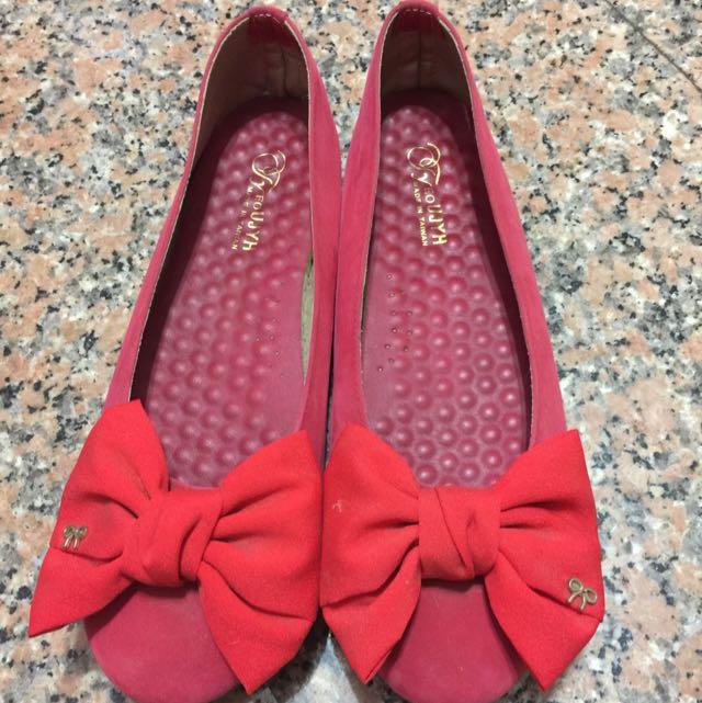紅蝴蝶結25號娃娃鞋