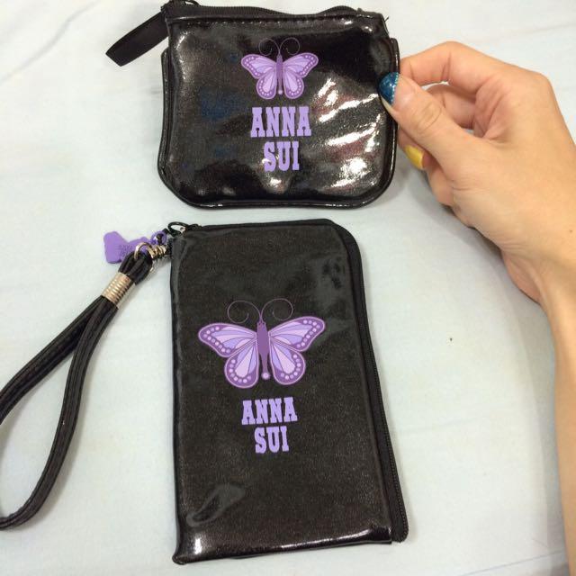 ANNA SUI魔幻紫蝶手機包2個1組