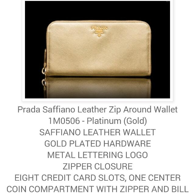 6d8a24811b7c Authentic PRADA Gold Zip Around Wallet, Luxury on Carousell