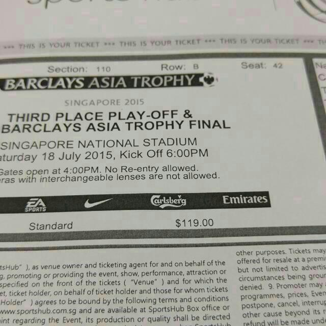 Cheapest! 1 X Barclays Asia Trophy Finals 18th July Cat 2! Fastest Finger First!