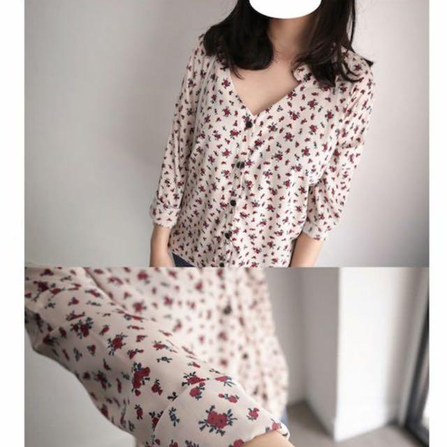 Cozyfee小花v領襯衫