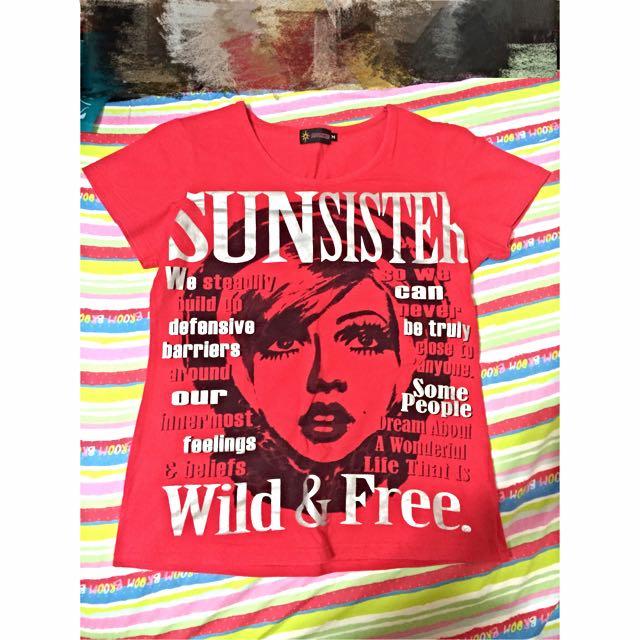 SUNSISTER 紅色雜誌款T-shirt (M)