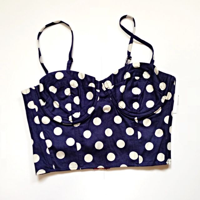 Cute Polka Dotted Cropped Bustier