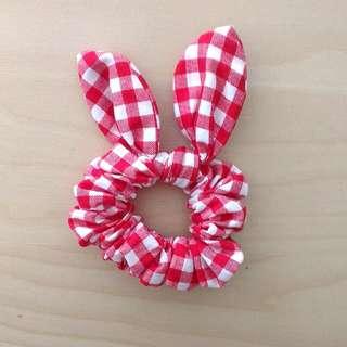 [全新] 鄉村風 紅色格子免子造型 髮帶