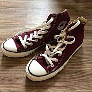 Converse All Star 4號/23公分 酒紅色中筒帆布鞋