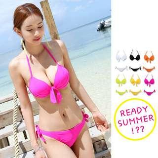 夏日性感桃色bikini小胸鋼圈游泳衣 (整套全新)