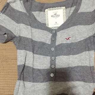 Hollister 灰條紋 短袖 M號