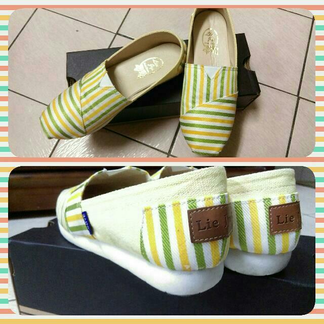 青檸條紋懶人鞋(23號適穿)