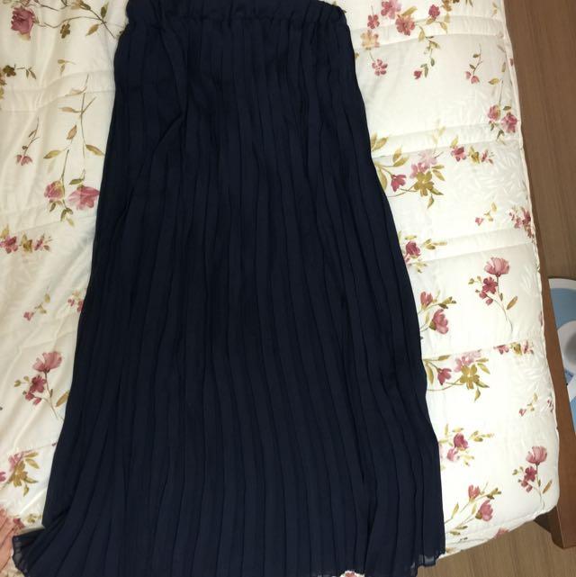 雪紡半身氣質藍長裙