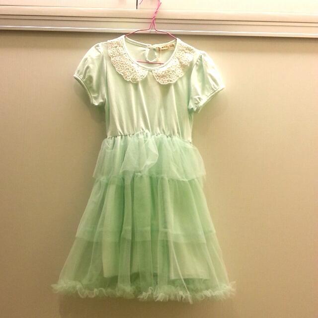 可愛粉綠針織洋裝