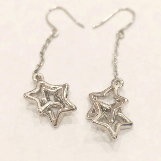 雙星 垂墜式耳環