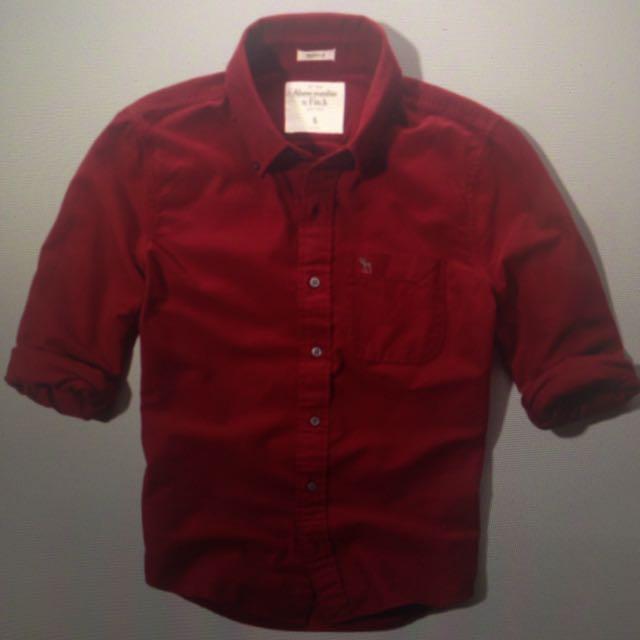 全新 Allen Brook 襯衫 酒紅色厚磅