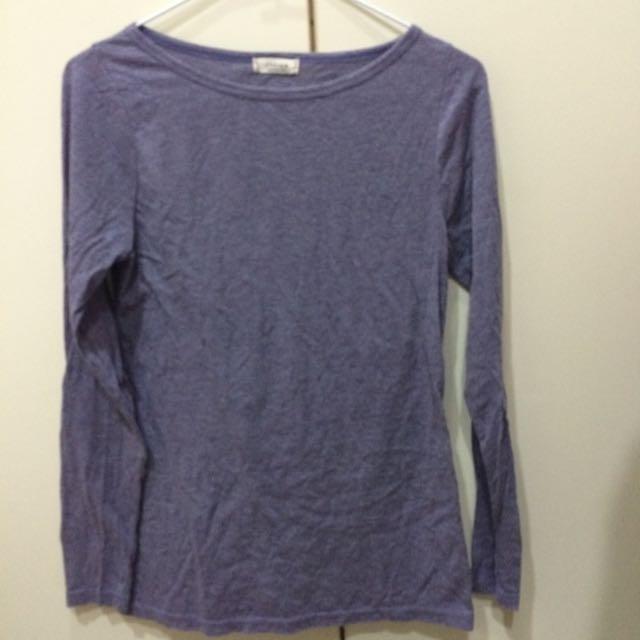 韓國 紫色薄長袖素T