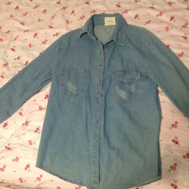 全新Queen Shop淺藍丹寧外套