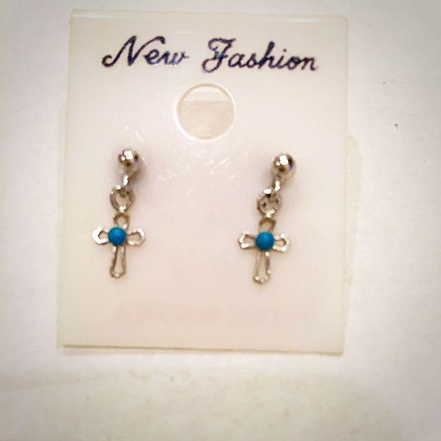 Tiffany綠十字架 耳環