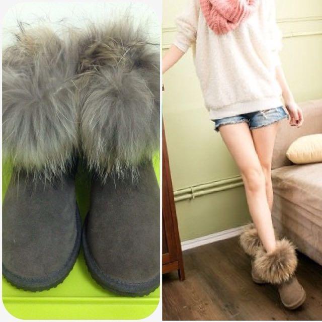 全新|澳洲製UGG|狐狸毛真皮毛絨中短筒雪靴|咖啡灰|US6 EU36/37