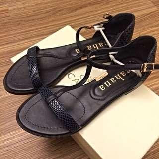 Cahana 正韓深藍色蛇紋T字涼鞋 37/23cm