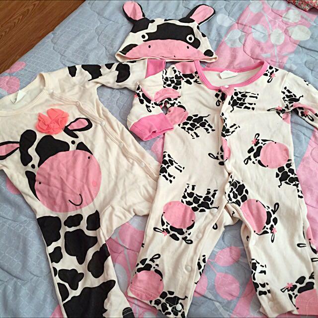 0-3m可愛乳牛連身衣