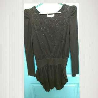 C016黑色長版娃娃袖上衣(長袖)
